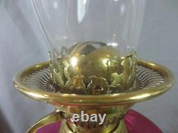 Antique Victorian Brass And Cranberry Glass Duplex Oil Lamp