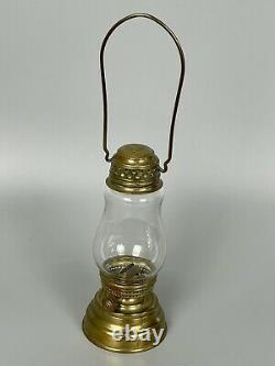 Antique Victorian Brass Christmas MINIATURE SKATER Childs OIL LANTERN Lamp