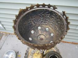 Antique Victorian Brass H C Baptholdi Ornate Oil Kerosene PIANO Floor lamp