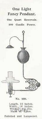 Antique Victorian Brass Hanging Gas Oil Lamp Electrified Glass Globe & Chimney