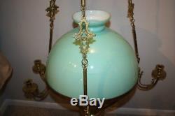 Antique Victorian Brass Hanging Oil Lamp Chandelier Candelabra 53.5H x30.5W