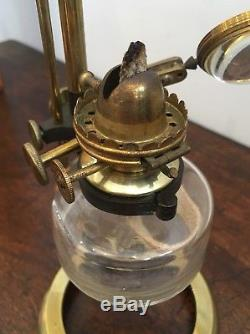 Antique Victorian Brass Microscope Oil Lamp By Holmes Booth Haydens American