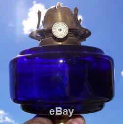 Antique Victorian COBALT BLUE GLASS FONT Duplex Oil Table Lamp GWTW Hurricane