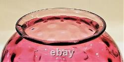 Antique Victorian Coin Spot Cranberry Glass Oil/Gas Lamp Shade Inch Fitter