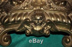 Antique Victorian Converted Oil Lamp-Dore Bronze Brass Rococo-Angels Cherubs