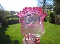 Antique Victorian Cranberry Glass Duplex Oil Lamp Shade