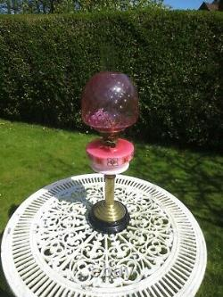 Antique Victorian Cranberry Glass Oil Lamp With Cranberry Beehive Shade