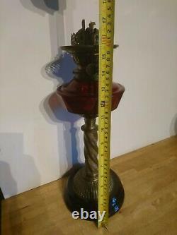 Antique Victorian Cranberry glass, twin burner Oil Lamp F S & Co Ltd Duplex