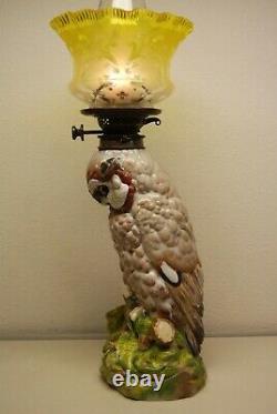 Antique Victorian Dresden Meissen Porcelain Vntg Whimsical Owl Kerosene Oil Lamp