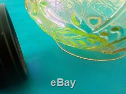 Antique Victorian /Edwardian Uranium Vaseline Glass Duplex Oil Lamp Shade tested