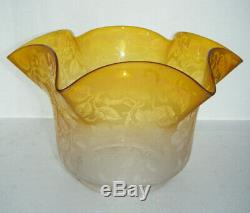 Antique Victorian Etched Yellow Oil Lamp Shade 4 Fitter