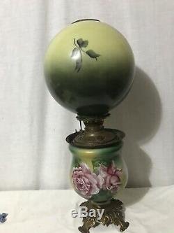 Antique Victorian Floral Gone With The Wind Banquet Parlor Oil Lamp Roses