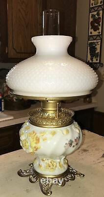 Antique Victorian Fostoria Glass Co. GWTW Parlor Kerosene Oil Lamp, Patent 1898