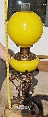 Antique Victorian Fostoria Parlor Banquet Lamp GWTW Hurricane Kerosene Oil Lamp