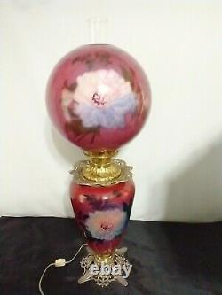 Antique Victorian GWTW Oil Lamp Hand Painted Flowers Gone with the Wind