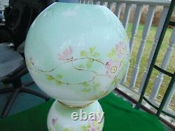 Antique Victorian GWTW Parlor Oil Lamp with Dogwood Flowers Signed C L & G 21 T