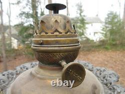 Antique Victorian GWTW Red Satin Glass Globe Oil Lamp Kerosene Parlor Lamp