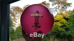 Antique Victorian GWTW Ruby Cranberry Rampant Lion Glass Oil Lamp Shade 2.5 inch