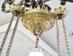 Antique Victorian Gold Cast Iron Pull Down Country Store Oil Lamp Chandelier