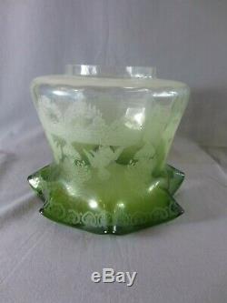 Antique Victorian Green Acid Etched Tulip Duplex Oil Lamp Shade