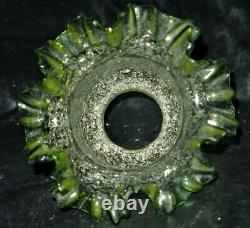 Antique Victorian Green Extra FINE Superior Overshot Miniature Oil Lamp MINT