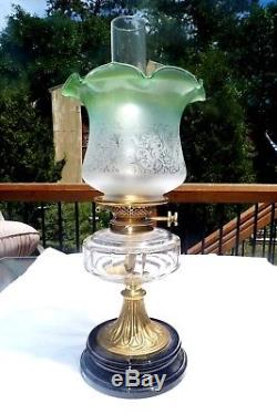 Antique Victorian Green Glass Tulip Shade Hinks Duplex Hurricane Oil Lamp GWTW