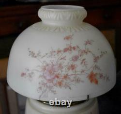 Antique Victorian Gwtw Converted Oil Lamp Pink Floral Blue Landscape 3 Positions