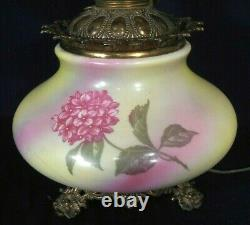 Antique Victorian Gwtw Oil Lamp With Original Ball Shade
