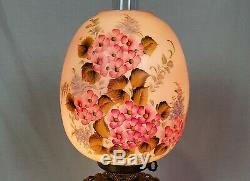 Antique Victorian Hand Painted Floral Electric Oil Parlor Banquet GWTW TableLamp