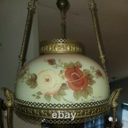 Antique Victorian Hanging Oil Lamp Chandelier Burmese Glass Shade 14 England
