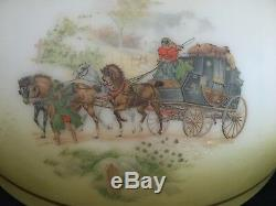 Antique Victorian Hanging Oil Lamp Horse Carriage Art Gorgeous