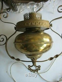 Antique Victorian Hanging Oil Lamp with floral shade Converted to Electric