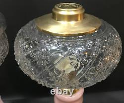 Antique Victorian Kerosene Glass Pair Of Oil LampsHand PaintedBrass