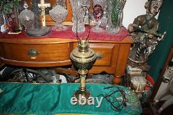 Antique Victorian Oil Kerosene Converted Lamp Brass Metal Detailed