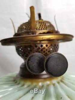 Antique Victorian Oil Kerosene lamp Double Wick Burner Brass Glass Font Duplex