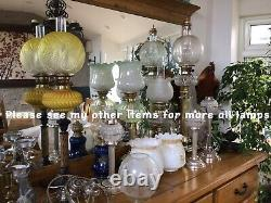 Antique Victorian Oil Lamp Brass Base Opalescent Honeycomb Moulded Glass Shade
