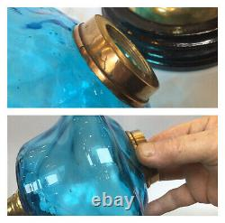 Antique Victorian Oil Lamp Brass & Ceramic Base Turquoise Font Acid Etched Shade
