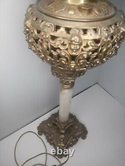 Antique Victorian Oil Lamp Converted Electric Angels Cherubs Gilded Gold Meriden