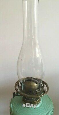 Antique Victorian Oil Lamp With Duckegg Green Coloured Glass & Brass Twist Stand
