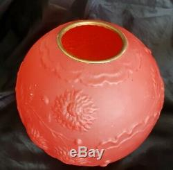 Antique Victorian Oil /gwtw Lamp Globe Orange Glass Floral Embossed Gorgeous