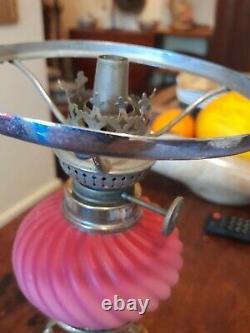 Antique Victorian Ornate Brass & Pink Cranberry Glass Oil Lamp Vintage