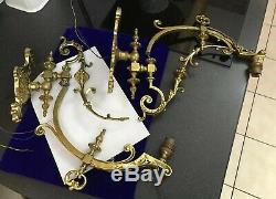 Antique Victorian Pair Ornate Brass Gas Wall Light Sconces For Restoration