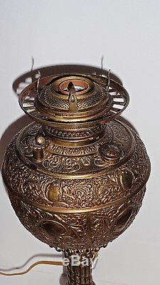 Antique Victorian Parlour Banquet Oil Lamp withoriginal Hand Painted Globe, Miller