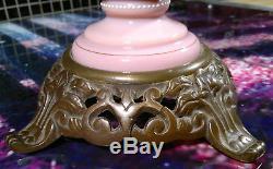Antique Victorian Pink Glass Oil Lamp Hinks & Son No. 2 Duplex Hand Enamelled