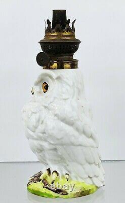 Antique Victorian Porcelain China Owl Oil Lamp Glass Eyes Kosmos German c1880