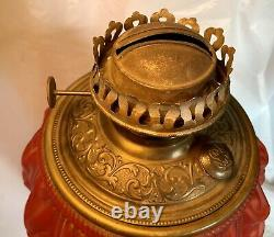 Antique Victorian RUBY RED GLASS Embossed Kerosene Oil Lamp Banquet GWTW