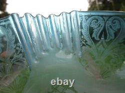 Antique Victorian Rare Blue Acid Etched Duplex Oil Lamp Shade