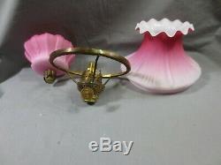 Antique Victorian Satin Cranberry Peg Oil Lamp Shade Falk Burner
