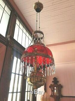 Antique Victorian Sgnd Bradley & Hubbard Hanging Library Oil Lamp
