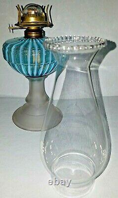 Antique Victorian Sheldon Swirl Blue & White Opalescent Glass Radiant Oil Lamp